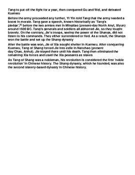 Battle of Mingtiao Informational Text