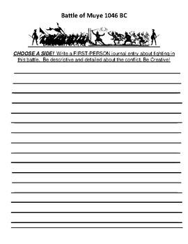 Battle of Muye Creative Writing Assignment