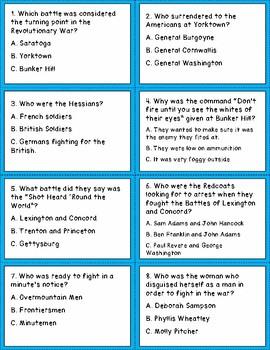 Battle of Revolutionary War Task Cards
