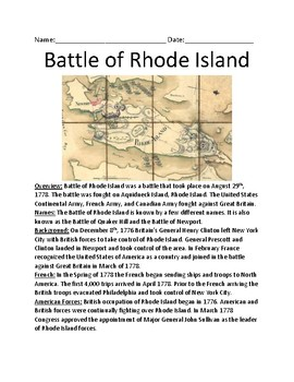 Battle of Rhode Island - Lesson history facts review background - questions