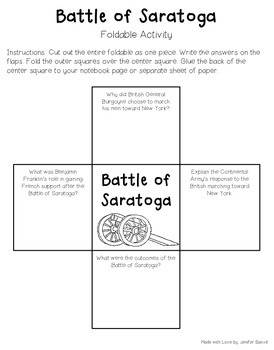 Battle of Saratoga- Lesson, Foldable, Secondary Source Activity