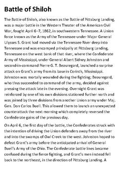 Battle of Shiloh Handout