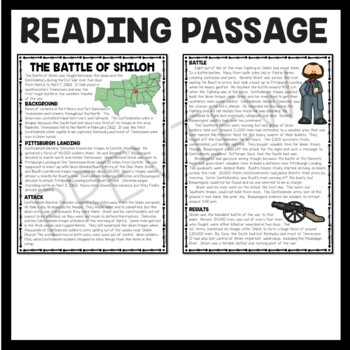 Battle of Shiloh Reading Comprehension Worksheet, Civil War