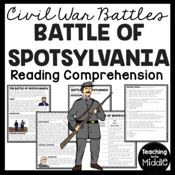 Battle of Spotsylvania Reading Comprehension Worksheet, Civil War