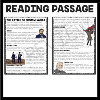 Battle of Spotsylvania Reading Comprehension Worksheet, Civil War
