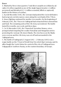 Battle of Stalingrad Crossword