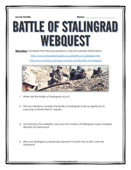Battle of Stalingrad - Webquest with Key (World War II)