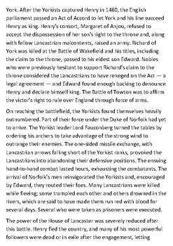 Battle of Towton Handout with activities