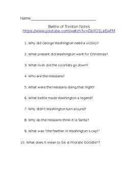 Battle of Trenton YouTube Video Notes