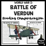 Battle of Verdun World War I Reading Comprehension Worksheet WWI