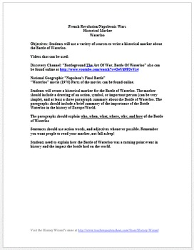 Battle of Waterloo Primary Source Worksheet and Writing Activity