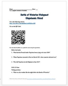 Battle of Waterloo Webquest (Napoleonic Wars)