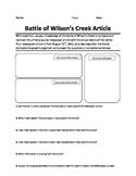 Battle of Wilson's Creek Primary Source Analysis