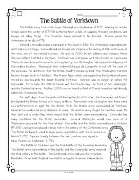 Battle of Yorktown Differentiated Activities