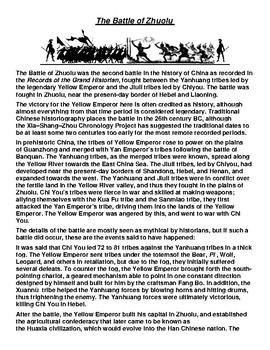 Battle of Zhuolu Article