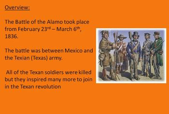 Battle of the Alamo - Power Point - 15 slides history fact