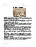 Battle of the Alamo - Review Article Questions timeline vocab word search PDF