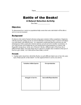 Battle of the Beaks!  Natural Selection STEM Lab STUDENT HANDOUT