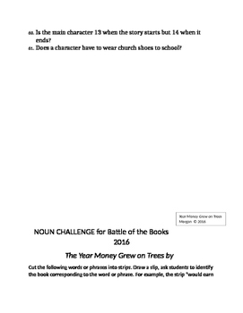 Battle of the Books 2016 The Year Money Grew on Trees Prep Kit