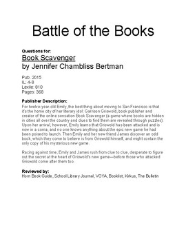 Battle of the Books - Book Scavenger