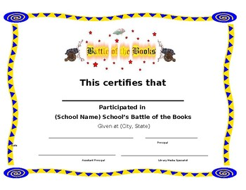Battle of the Books Certificate of Participation