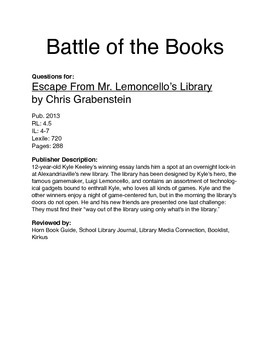 Battle of the Books - Escape From Mr. Lemoncello's Library