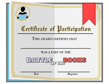 Battle of the Books Game Show Style Presentation with Student Certificates