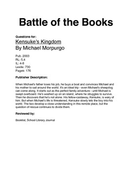 Battle of the Books - Kensuke's Kingdom