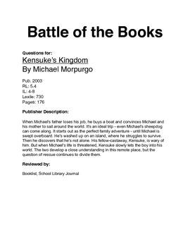 Battle of the Books - Kensuke's Kingdom
