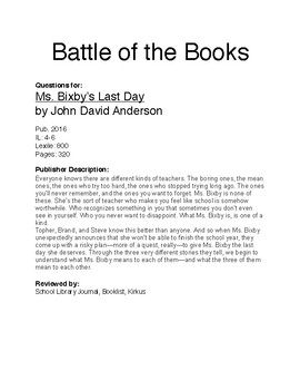 Battle of the Books - Ms. Bixby's Last Day