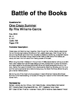 Battle of the Books - One Crazy Summer