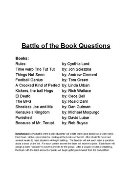 Battle of the Books Questions - 5th Grade