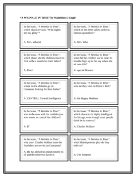 """Battle of the Books Questions: """"A Wrinkle in Time"""", by M. L'Engle"""