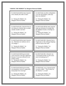 """Battle of the Books Questions: """"Among the Hidden"""", by Haddix"""
