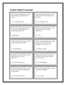 """Battle of the Books Questions: """"Chasing Vermeer"""", by B. Balliett"""