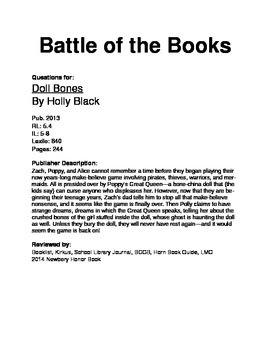 Battle of the Books Questions - Doll Bones