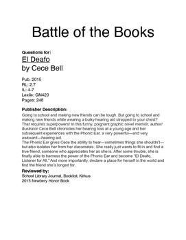 Battle of the Books Questions - El Deafo