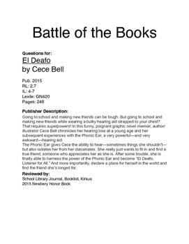 Battle of the Books Questions - El Deaf