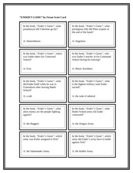 """Battle of the Books Questions: """"Ender's Game"""", by O.S. Card"""
