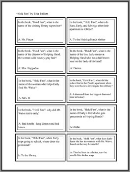 """Battle of the Books Questions: """"Hold Fast"""" by Blue Balliet"""
