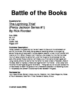 Battle of the Books Questions - Lightning Thief