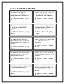 """Battle of the Books Questions: """"Masters of Disaster"""", by Gary Paulsen"""