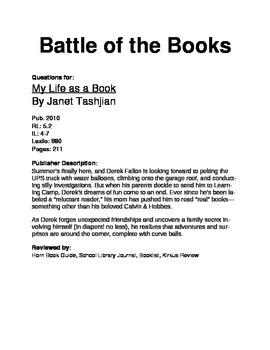 Battle of the Books Questions - My Life as a Book