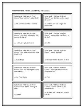 """Battle of the Books Questions: """"Odd and the Frost Giants"""", by N Gaiman"""