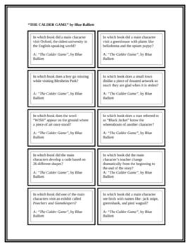 "Battle of the Books Questions: ""The Calder Game"", by B. Balliett"