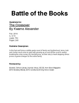 Battle of the Books Questions - The Crossover