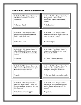 """Battle of the Books Questions: """"The Hunger Games"""", by S. Collins"""
