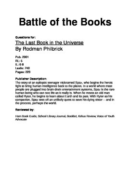 Battle of the Books Questions - The Last Book in the Universe
