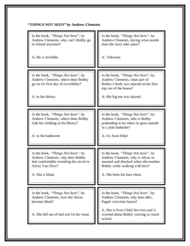 """Battle of the Books Questions: """"Things Not Seen"""", by A. Clements"""