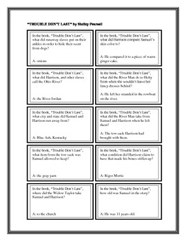 """Battle of the Books Questions: """"Trouble Don't Last"""", by S. Pearsall"""